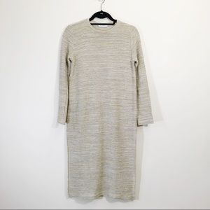 Zara Knit Tunic Dress Side Slits Size Small Beige